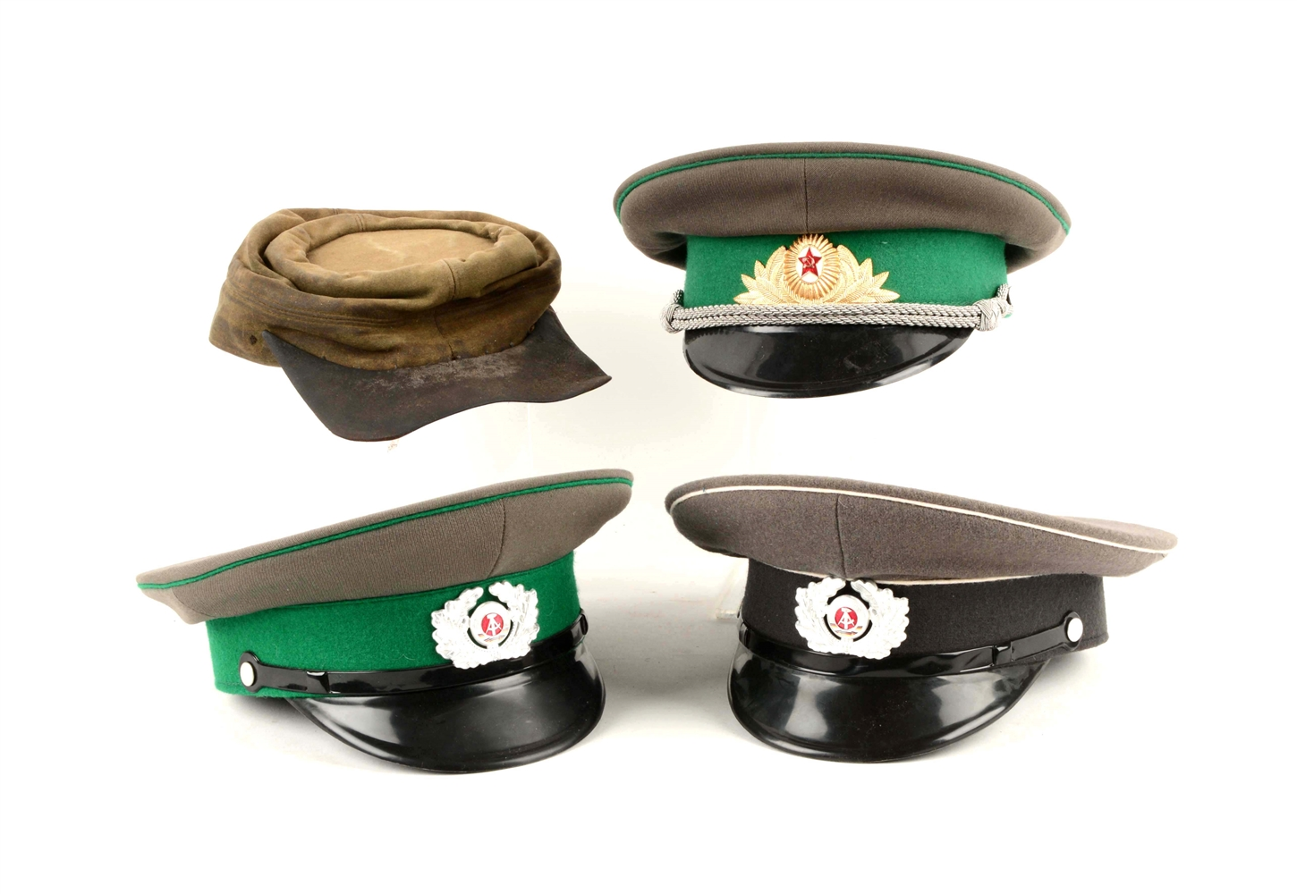 Lot Of 4: 3-Soviet/USSR Military Caps and 1960s Kepi