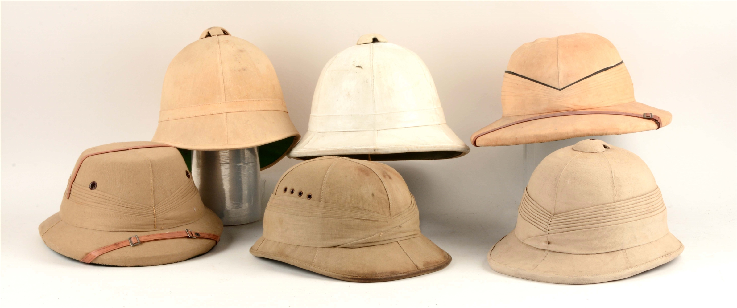 "Lot Of 6: 19-20th Century Tropical Service ""Pith"" Helmets."