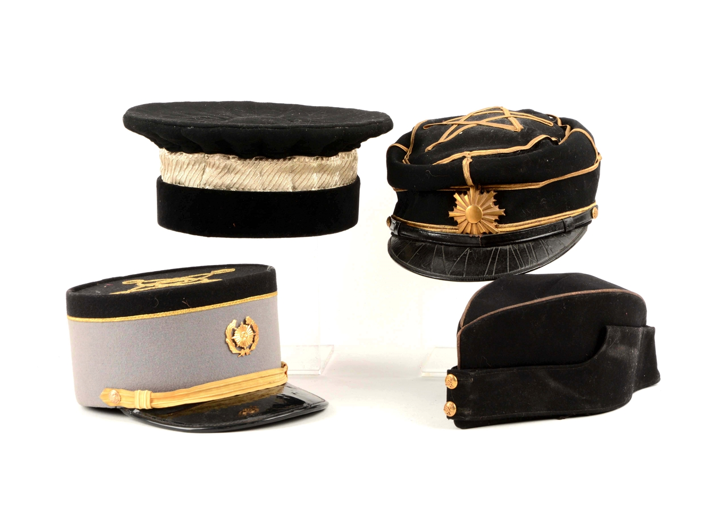 Lot Of 4: Reproduction and Original Military Caps