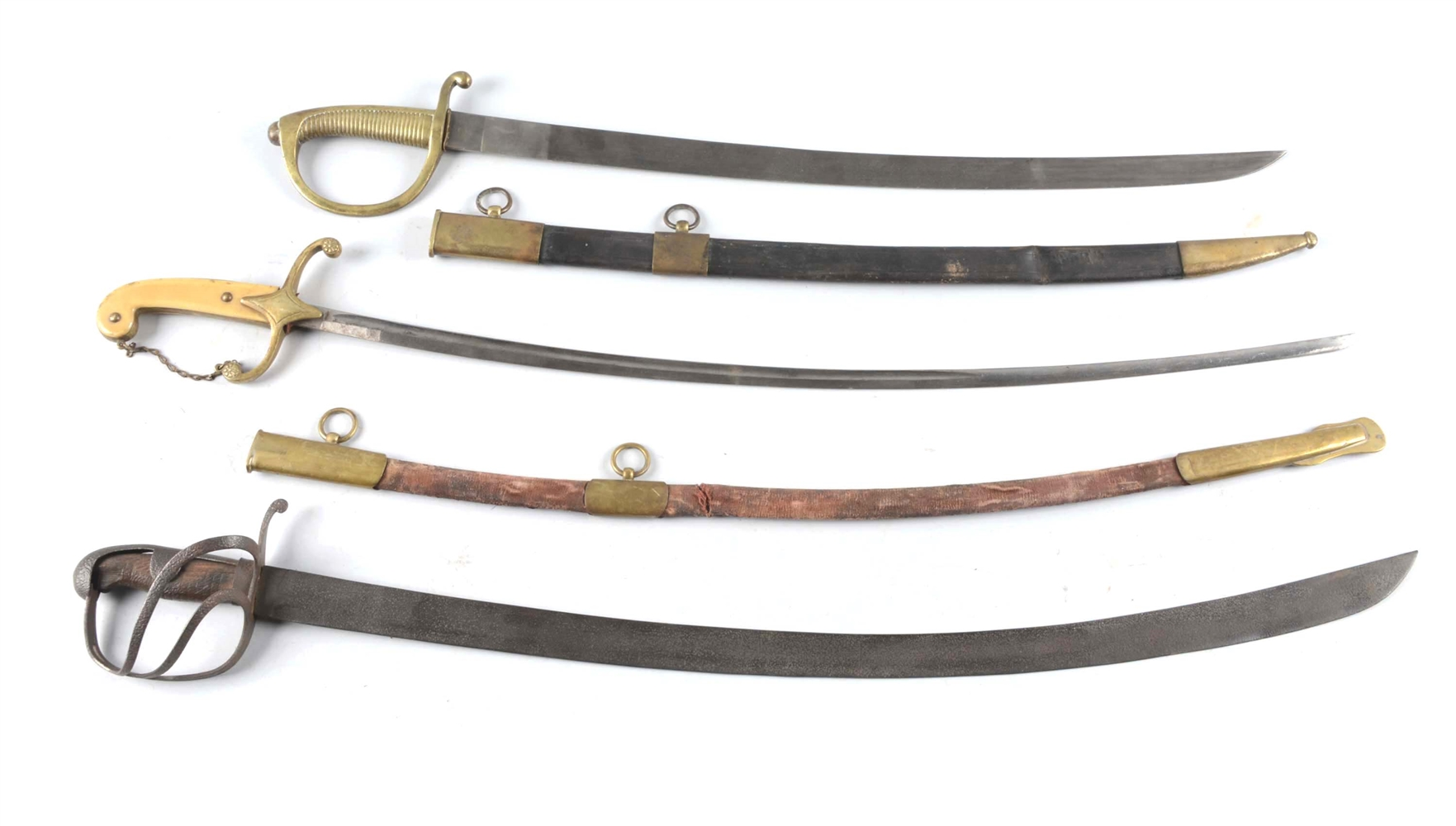Lot Of 3: Mameluke, Cavalry Briquette Sword in Scabbard.