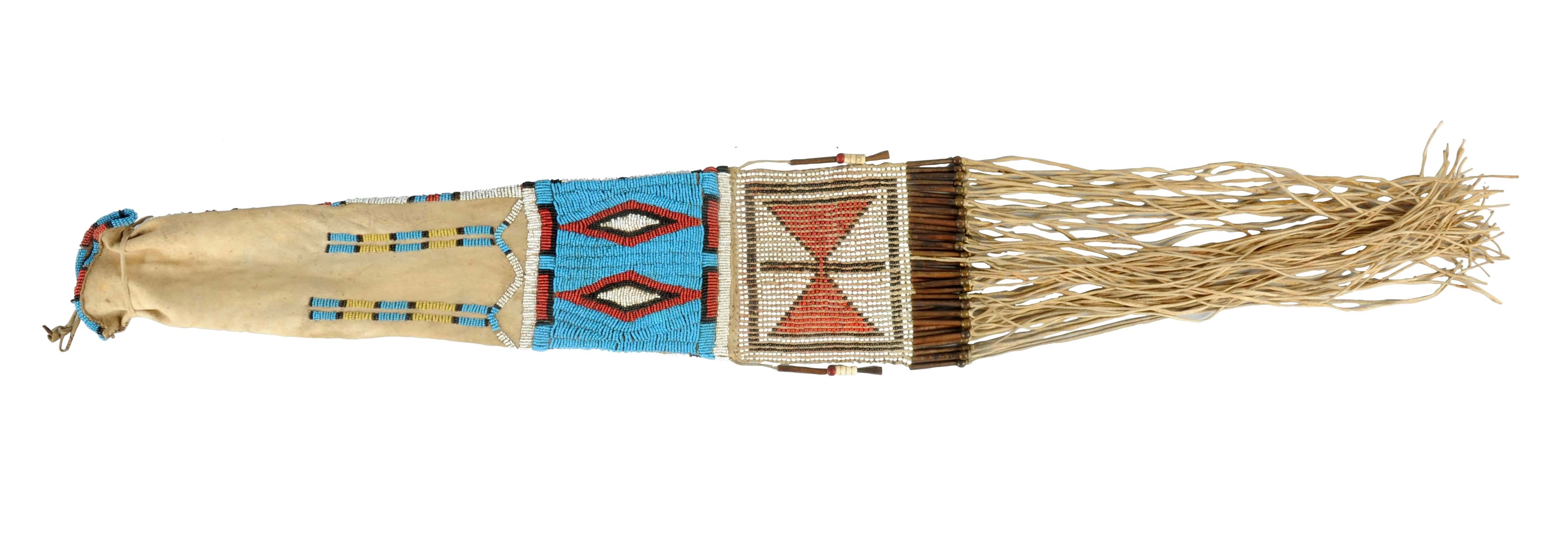 Beautiful Northern Plains Contour Beaded Pipe Bag With Two Distinct Diamond Elements.