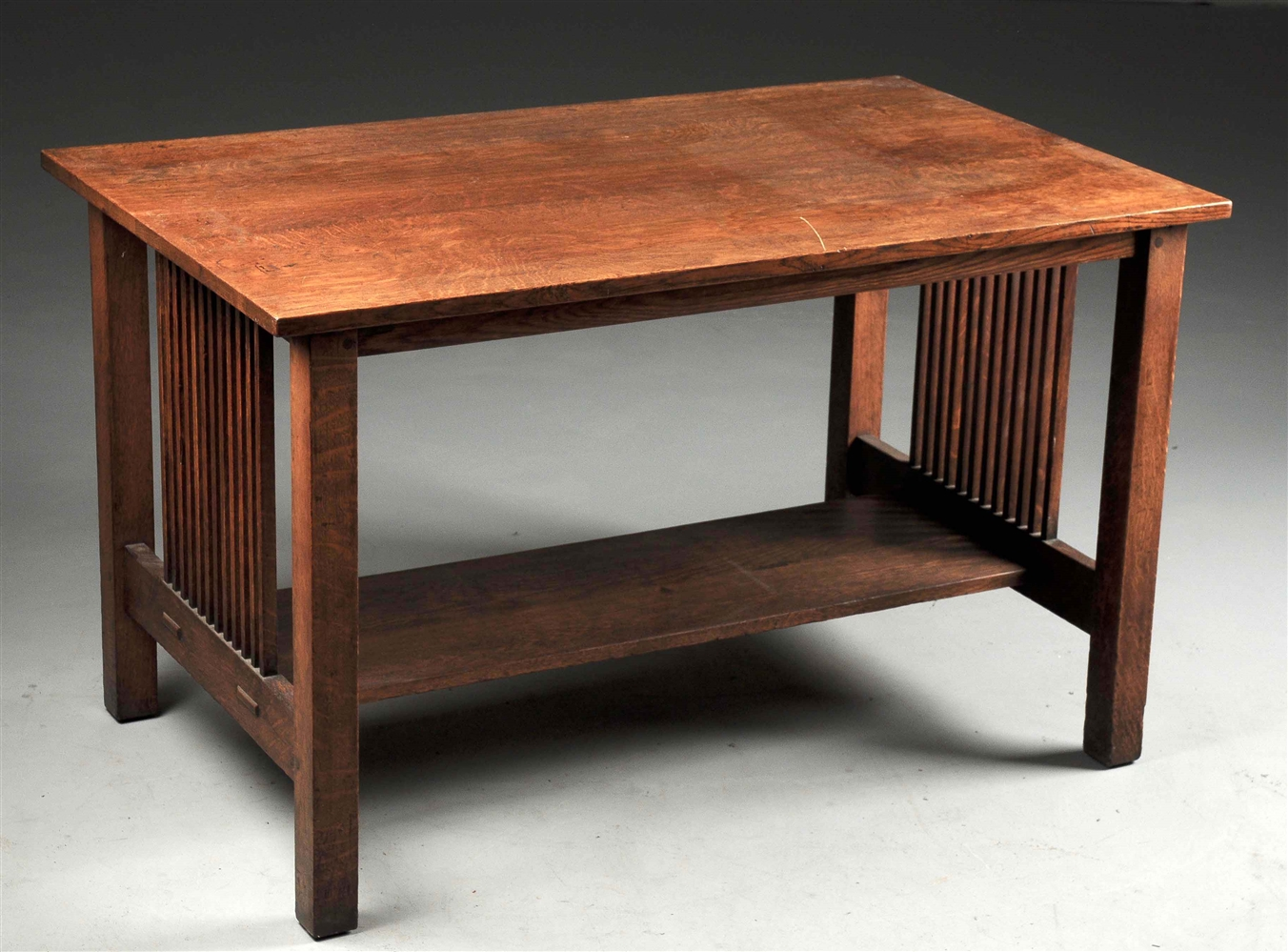 Gustav Stickley Spindle Sided Library Table No. 657.