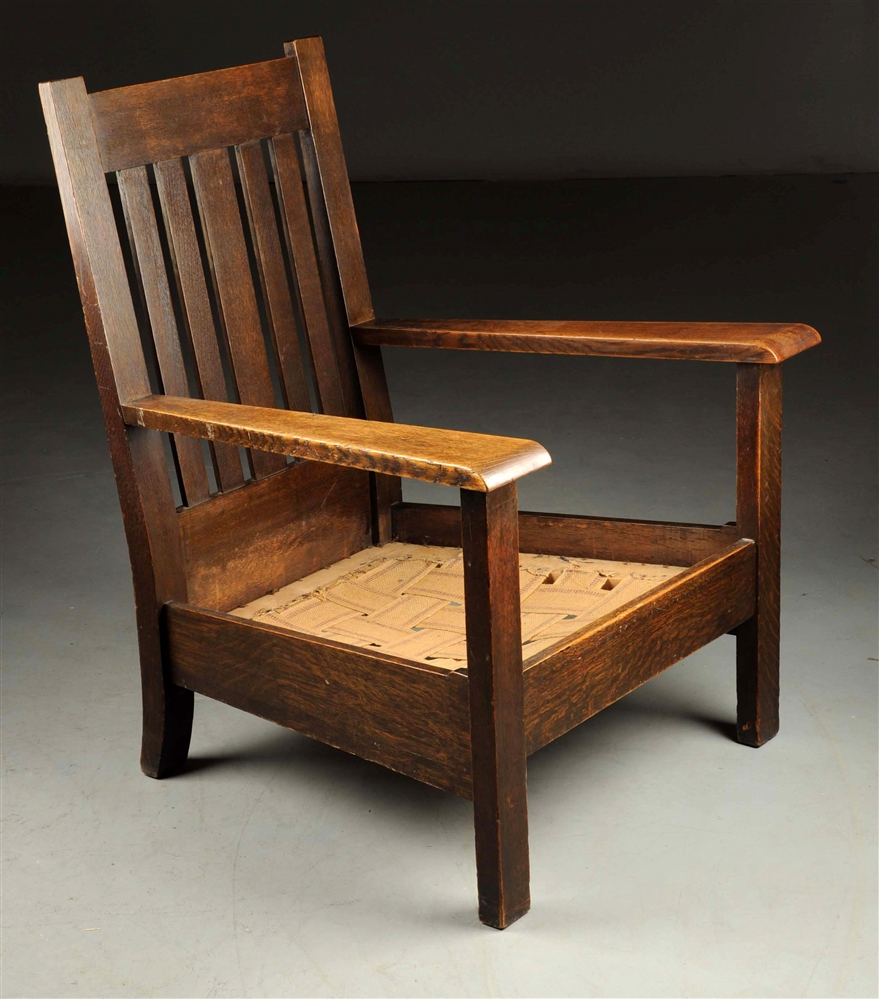 Early Stickley Bros. Fixed Back Armchair.