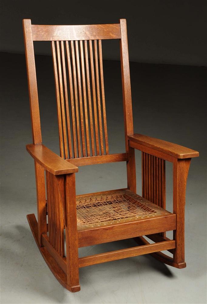 Gustav Stickley Tall Back Spindle Rocker No. 375.