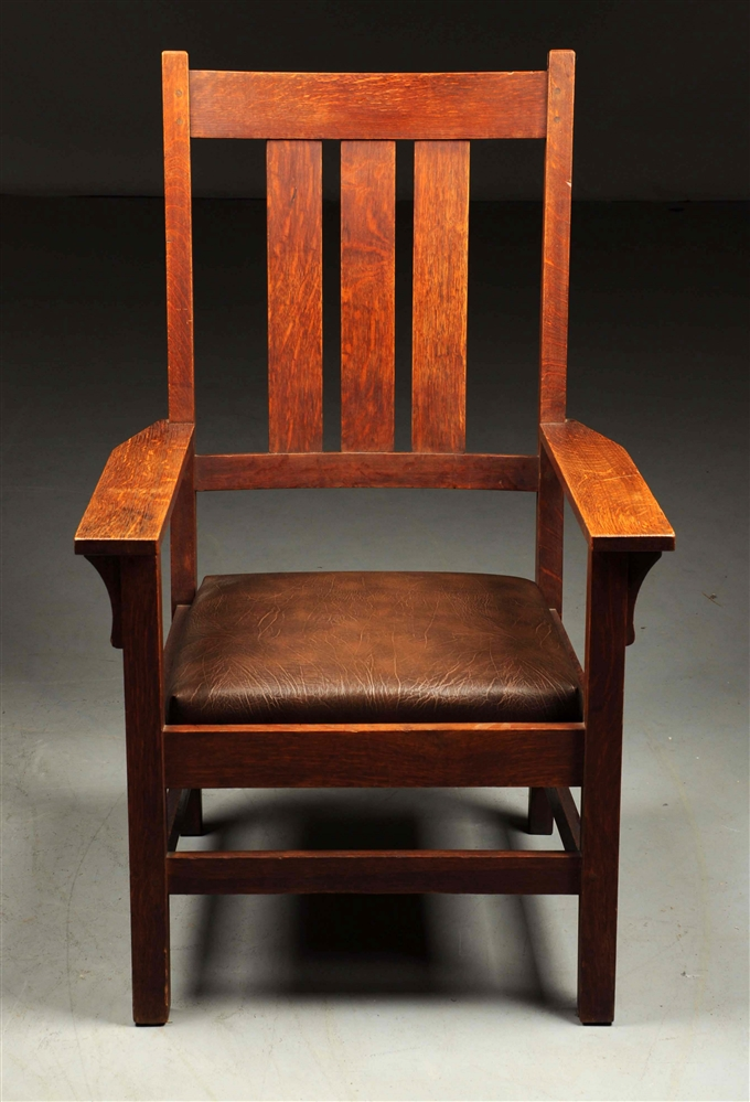 Rare Gustav Stickley Tall Back Large Arts & Crafts Armchair.