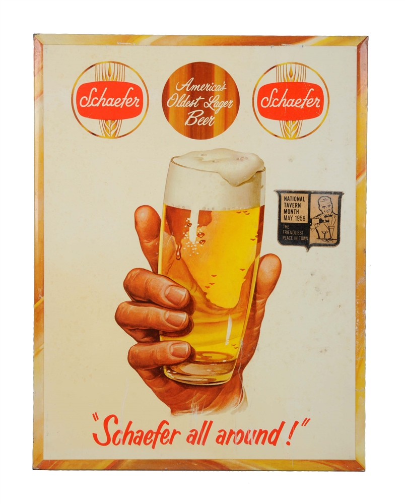 Schaefer Beer Tin Over Cardboard Advertising Sign.