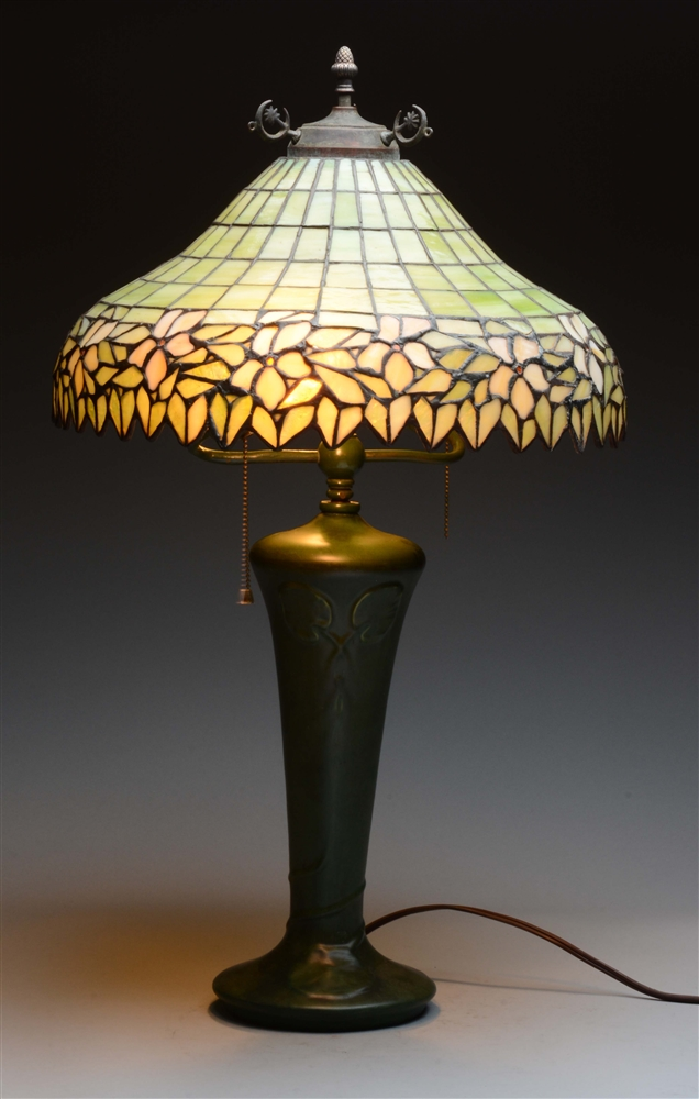 Hampshire Pottery Lamp with Leaded Glass Shade.