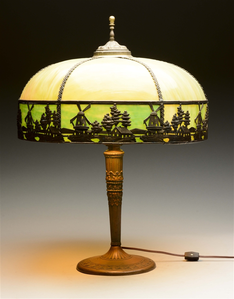 Arts & Crafts Bronze Lamp with Slag Glass Shade.