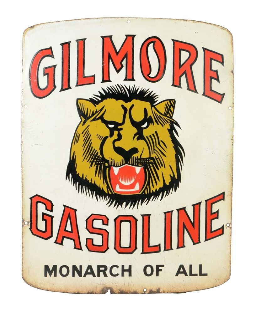 Gilmore Gasoline Porcelain Curb Sign (Early Version).