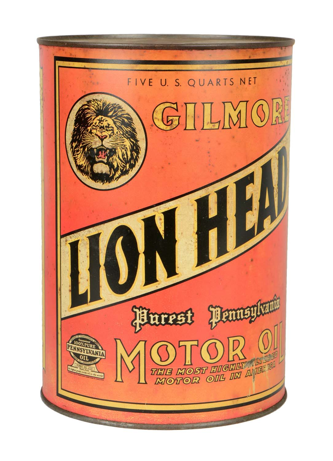 Gas Prices Las Vegas >> Lot Detail - Gilmore Lion Head Five Quart Oil Can.