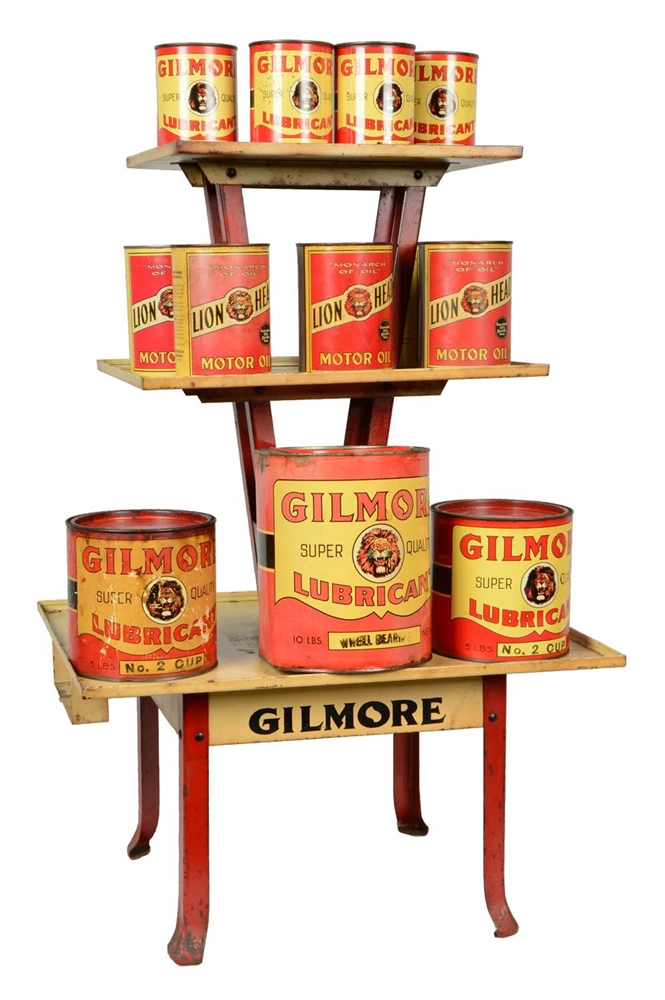 Gilmore Motor Oil Can Rack With Various Cans.