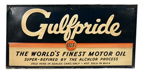 "Gulfpride ""The Worlds Finest Motor Oil"" Embossed Tin Sign."