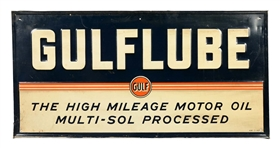 "Gulflube ""The High Mileage Motor Oil"" Embossed Tin Sign."