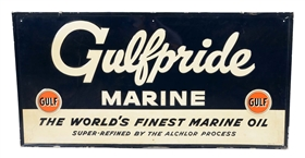 "Gulfpride Marine ""The Worlds Finest Marine Oil"" Embossed Tin Sign."