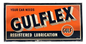 "Gulflex ""Registered Lubrication"" Embossed Tin Sign."