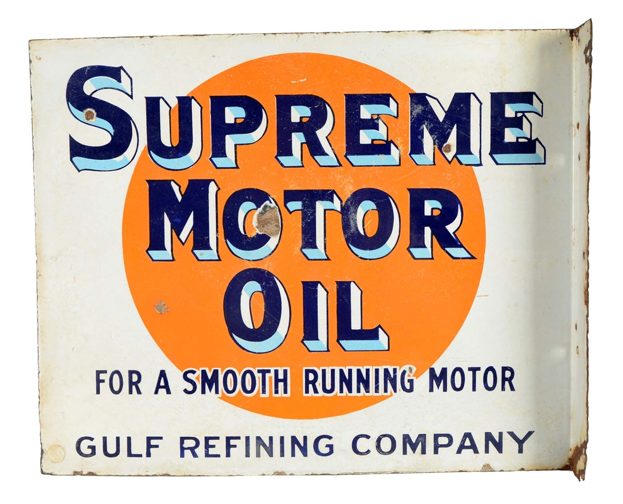 Supreme Auto Oil Gulf Refining Company Porcelain Flange Sign.