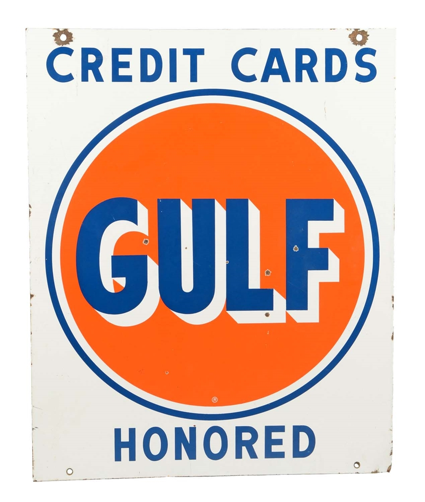 Gulf Credit Cards Honored Porcelain Sign.