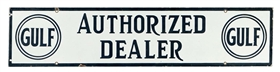 Gulf Authorized Dealer Porcelain Sign.