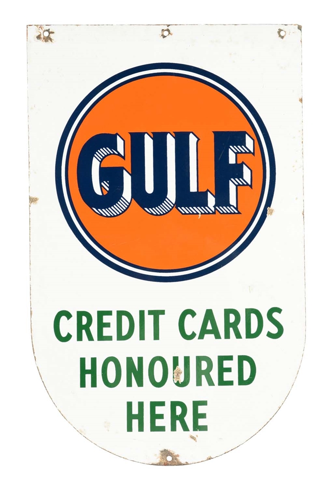 Gulf Credit Cards Honoured Here Die-cut Porcelain Sign.