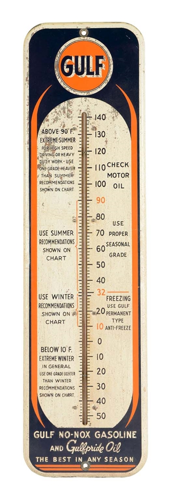 Gulf Tin Advertising Thermometer.