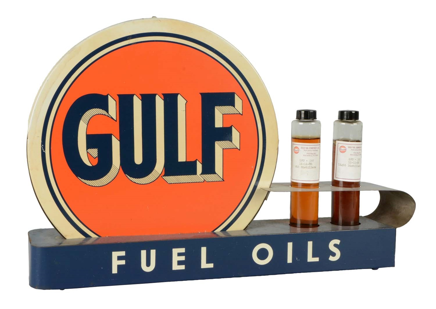Gulf Fuel Oils Metal Counter Display.