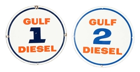 Lot Of 2: Gulf Diesel 1 And 2 Porcelain Signs.