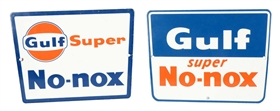 Lot Of 2: Different Gulf Super No-Nox Porcelain Signs.