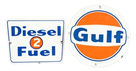 Lot Of 2: Gulf Porcelain Signs.