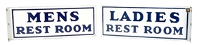 Lot Of 2: (Gulf) Mens And Ladies Rest Room Porcelain Flange Signs.