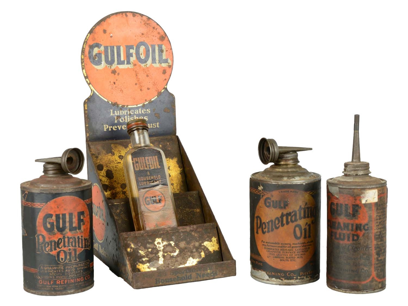 Lot Of 5: Gulfoil Metal Display With Bottle And Cans.
