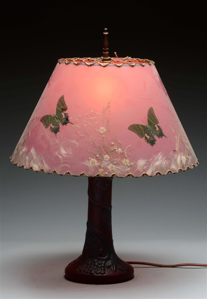 Van Briggle Pottery Lamp with Satin Glass Shade.