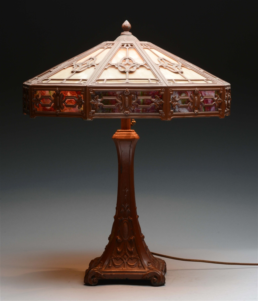 Arts & Crafts Style Lamp with Slag Glass Shade.