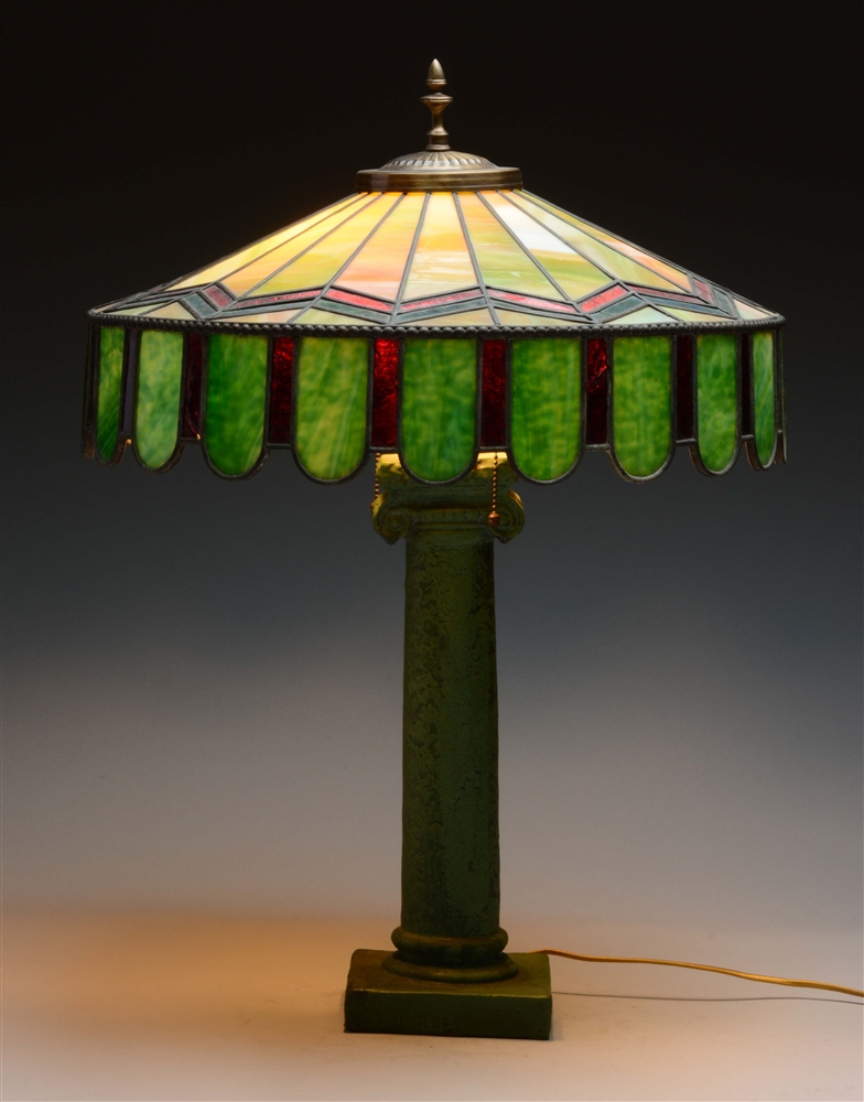 Mission Style Leaded Glass Lamp.