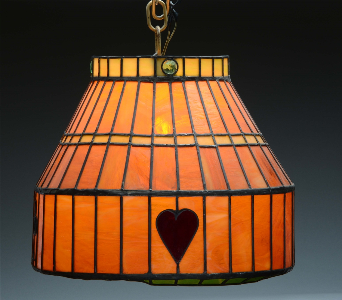 Mission Style Leaded Glass Hanging Lamp.
