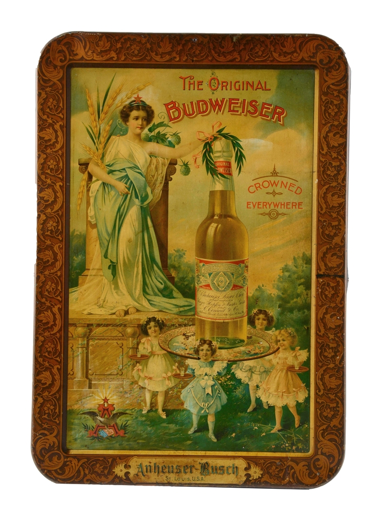 The Original Budweiser Tin Litho Advertising Sign.