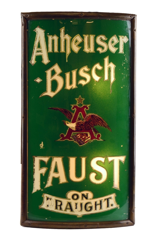 Reverse Glass Anheuser Busch Faust Light Up Sign.