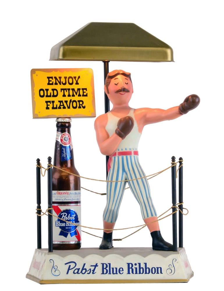 Pabst Blue Ribbon Boxer Advertising Display Lamp.