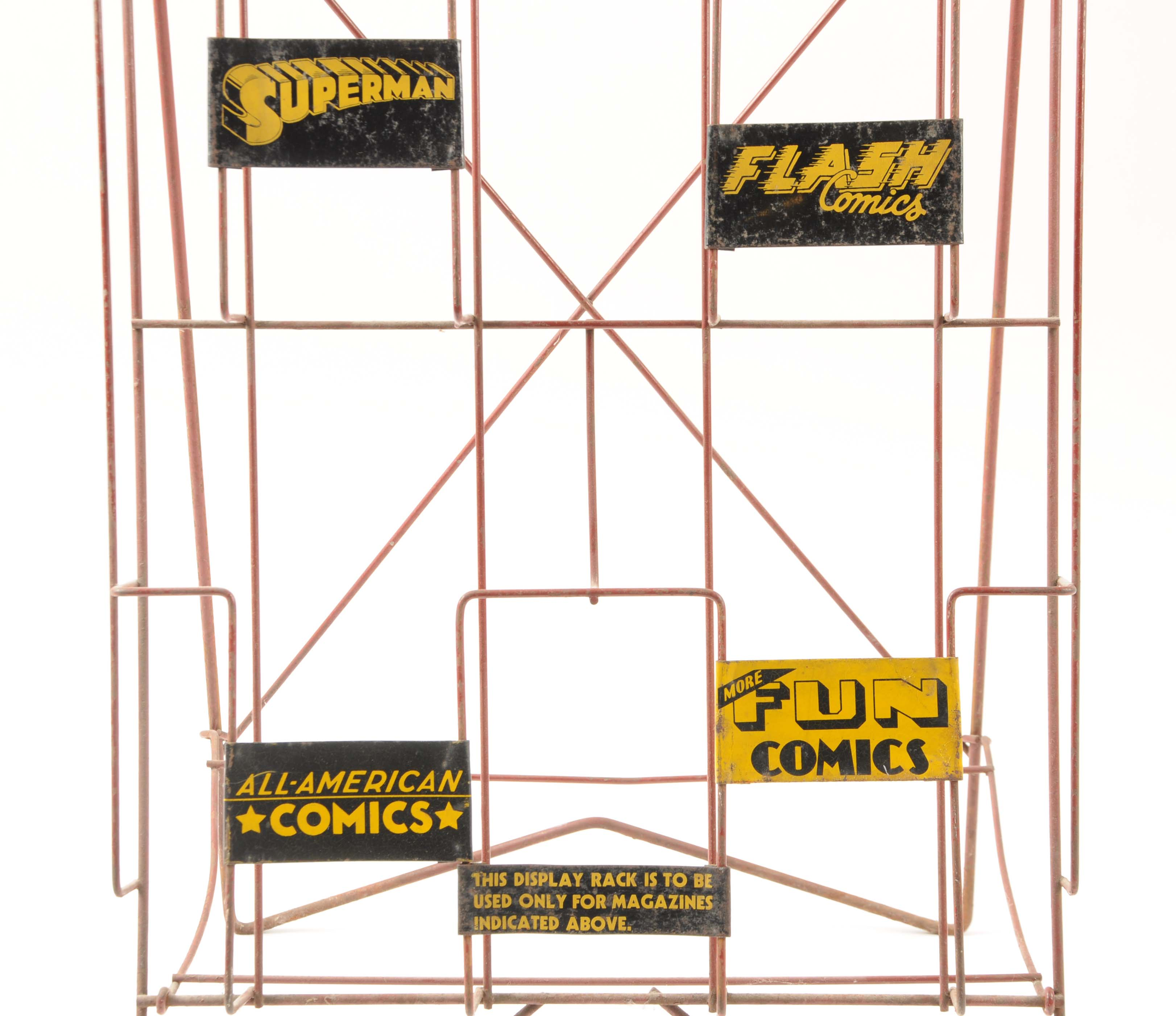Lot detail amazing dc store display comic book rack - Comic book display shelves ...