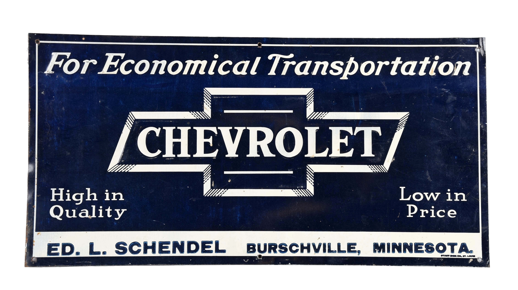 "Chevrolet in Bowtie ""For Economical Transportation"" Embossed Sign."
