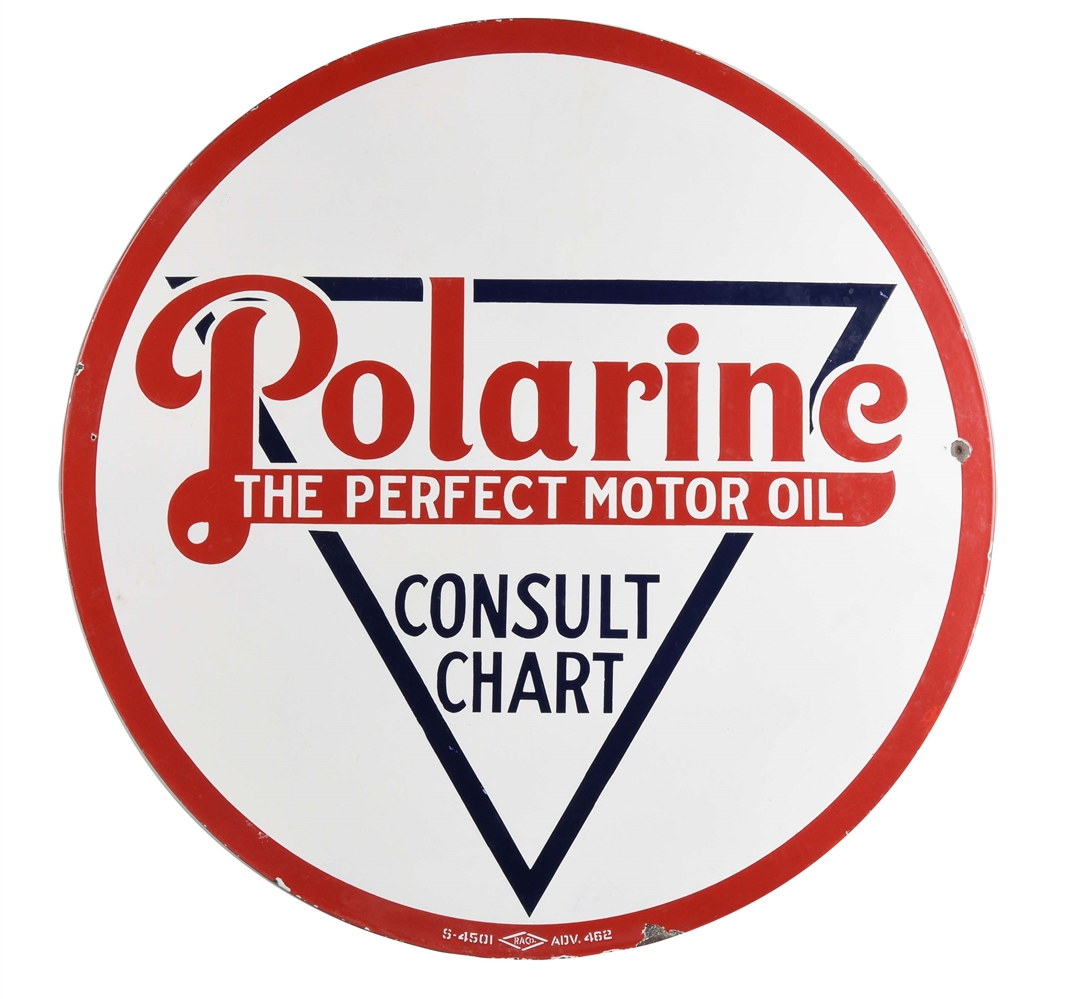"Polarine ""The Perfect Motor Oil"" Porcelain Sign."