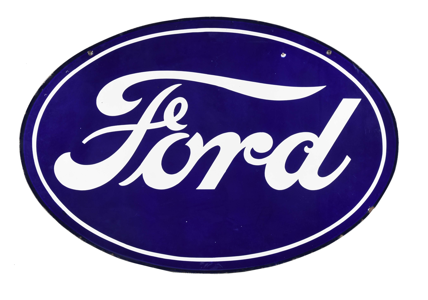Hard to Find Size Ford in Oval Porcelain Sign.