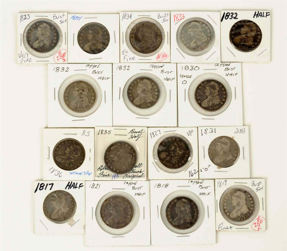 Lot Of 16: Bust Half Dollars.