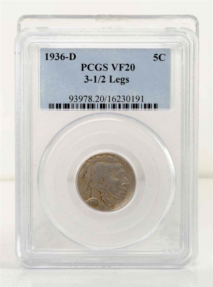 1936-D  3-1/2 Legged Buffalo Nickel.