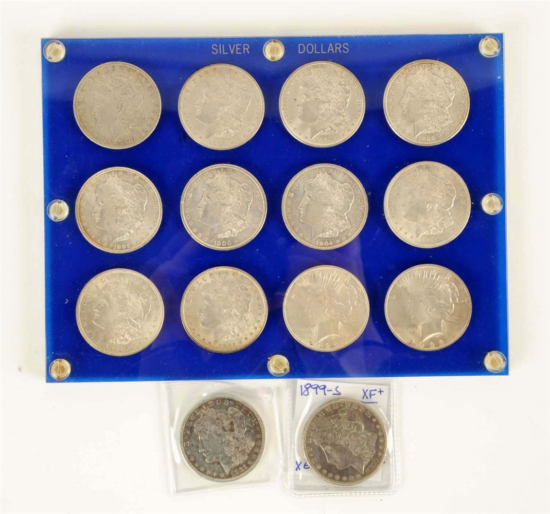Lot Of 14: Silver Dollar Coins.