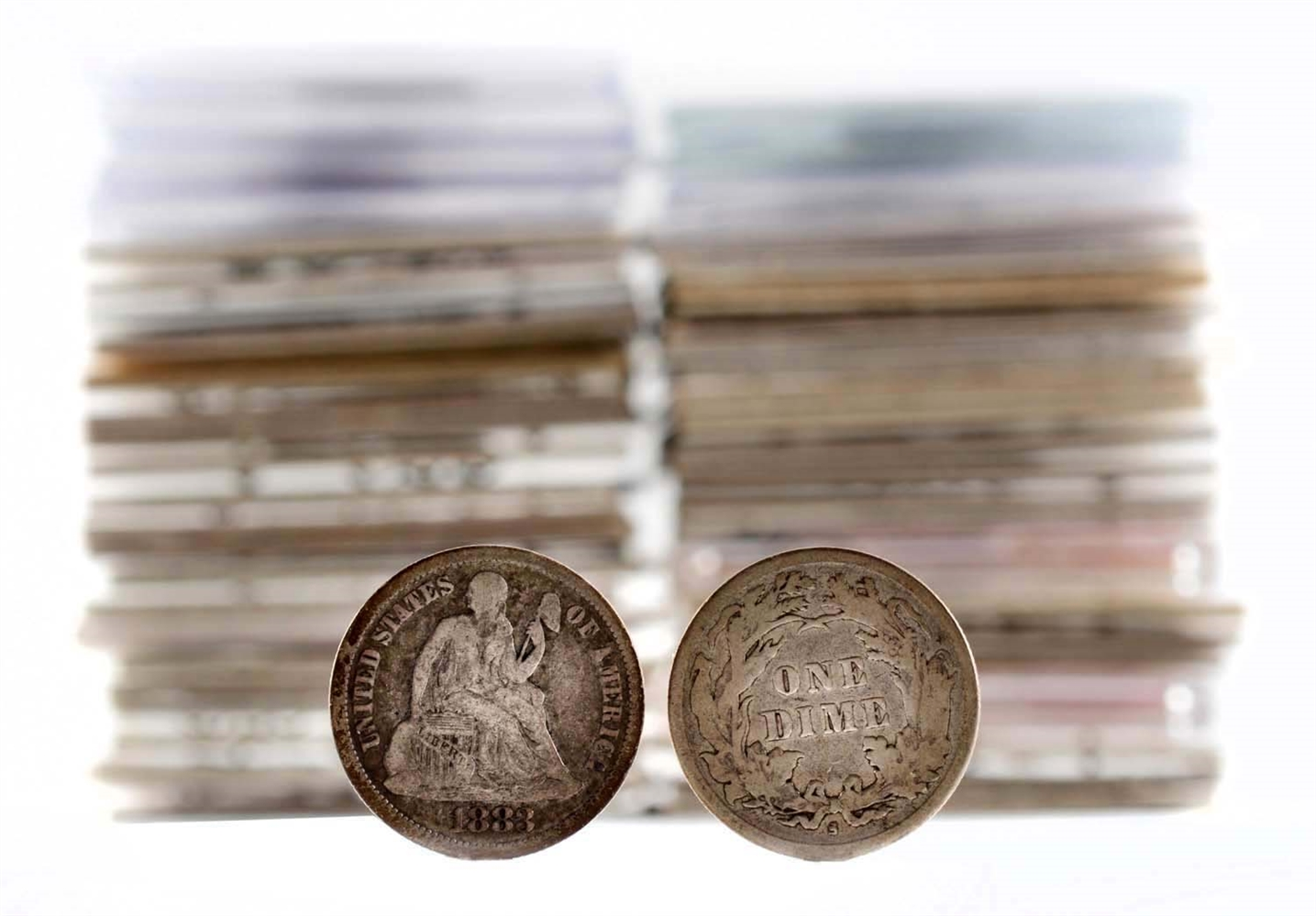 Lot of 51: Seated Liberty Dimes.