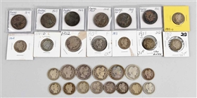 Lot Of 29: Barber Half Dollars & Quarters.