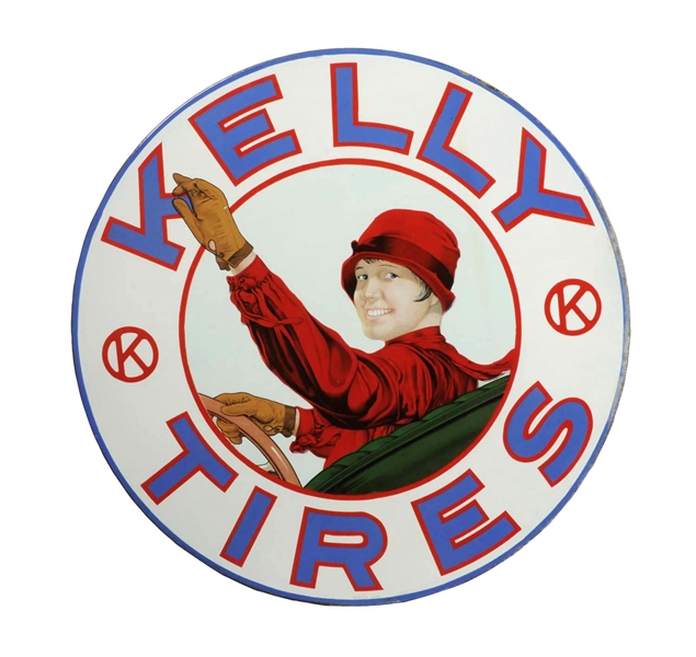Kelly Tires w/ Lotta Miles Graphic Porcelain Sign.