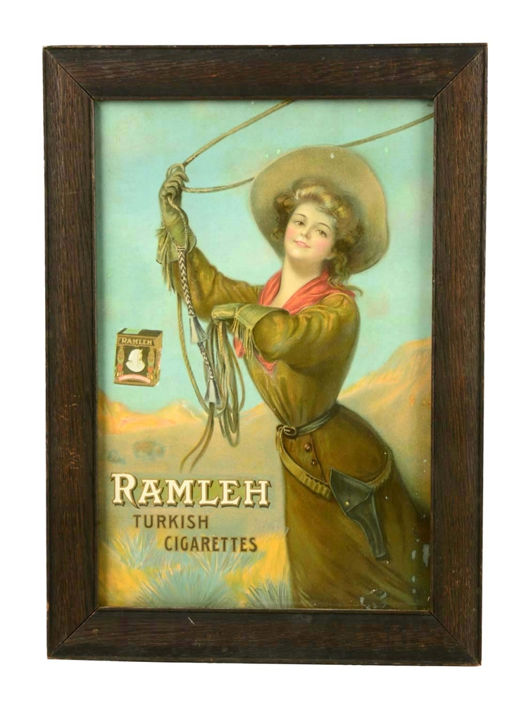 Framed Ramleh Turkish Cigarettes Sign.