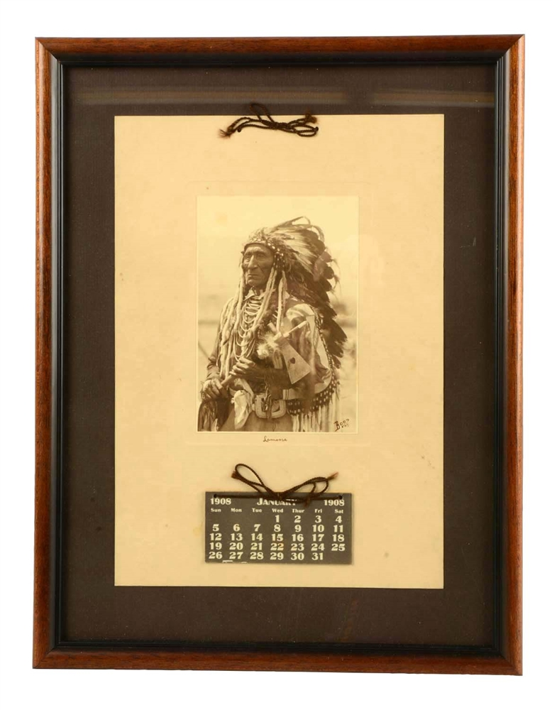 "Framed Calendar Photo Of ""Chief Lamoose""."