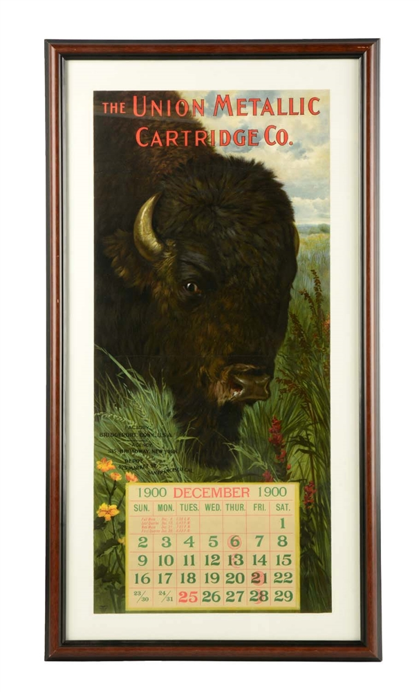 "Framed ""The Union Metallic Cartridge Co"" 1900 Calendar."